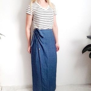 Vintage GAP Linen Chambray Maxi Wrap Skirt 813